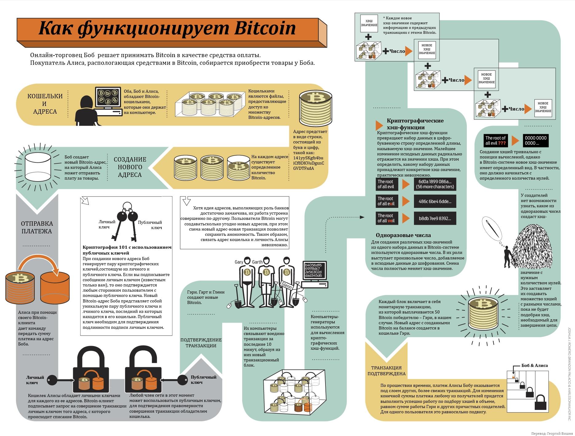 инфографика как функционирует биткойн