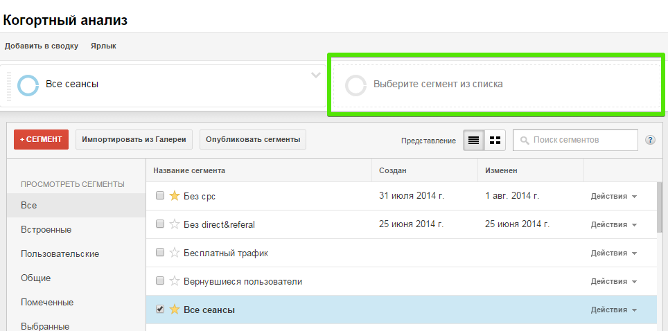 Сегменты в Google Analytics