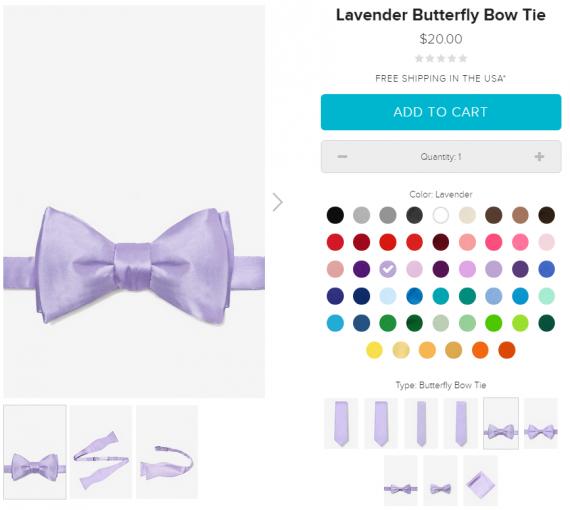 При выборе цвета, сразу отображаются доступные типы галстуков этого цвета