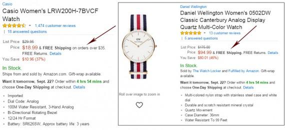 Amazon напоминает нам, что при заказе от 35$ доставка бесплатная, даже если товар дешевле.