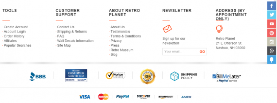 Поместите значки систем оплат в футере сайта на каждой странице.Источник: RetroPlanet.com.